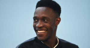 Danny Welbeck talks to the media after an England training session in Burton-upon-Trent. Photograph: Nathan Stirk/Getty Images