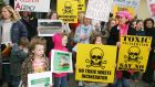 Protesters at the EPA oral hearing into the Indaver Incineration licence at Ringaskiddy,  in 2005. Photograph: Neil Danton