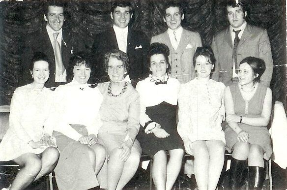 Kit de Waal's mother and grandmother (centre, front) in 1973 out for the night with the Doyle clan