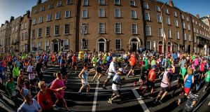 Runners during last year's Dublin Marathon. Photo: Inpho