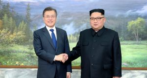 "The meeting between South Korean president Moon Jae-in and Kim Jong Un was ""a public relations moment"" for North Korea, says Suki Kim. Photograph: Reuters"