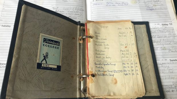 Some of the many notebooks and diaries Myrtle Allen kept while running Ballymaloe House. Photograph: Joleen Cronin