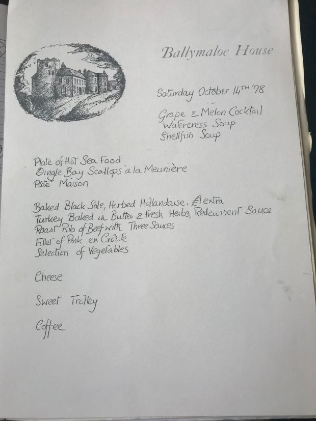 A handwritten menu from Ballymaloe House, October 14th, 1978. Dishes included Dingle Bay scallops and turkey baked in butter and fresh herbs with red current sauce, and the famous Ballymaloe dessert trolley