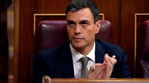 "Spanish Socialist Workers' Party leader Pedro Sánchez: ""Resign, Mr Rajoy, and all this will come to an end. Your time is up."" Photograph: Oscar Del Pozo/AFP/Getty Images"