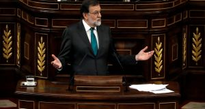 Spain's prime minister Mariano Rajoy during a motion of no confidence debate at parliament in Madrid on Thursday. Photograph: Juan Carlos Hidalgo/Reuters