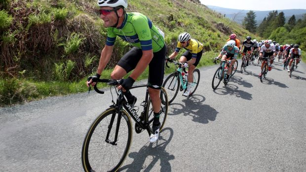 The Netherlands' Luuc Bugter leads the main bunch up Drumgoff, Co Wicklow during Stage 7 of the Rás Tailteann, from Carlow to Naas. Photograph: Bryan Keane/Inpho