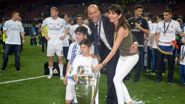 Zidane with his wife Veronique and his sons Theo and Elyaz after winning the Champions League in 2016. Photo: Filippo Monteforte/Getty Images