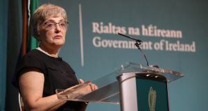 Minister for Children Katherine Zappone holds a press conference on false birth registrations, at Government Buildings in Dublin. Photograph: Niall Carson/PA Wire