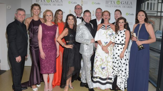 Some of the cast and crew of 'Dancing with the Stars' at the IFTA Gala Television Awards at the RDS. Photograph: Michael Chester