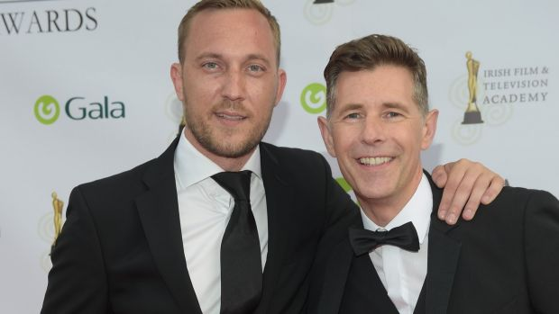Dermot Bannon and Mateo Saina arrive for the IFTA Gala Television Awards in the RDS. Photograph: Michael Chester