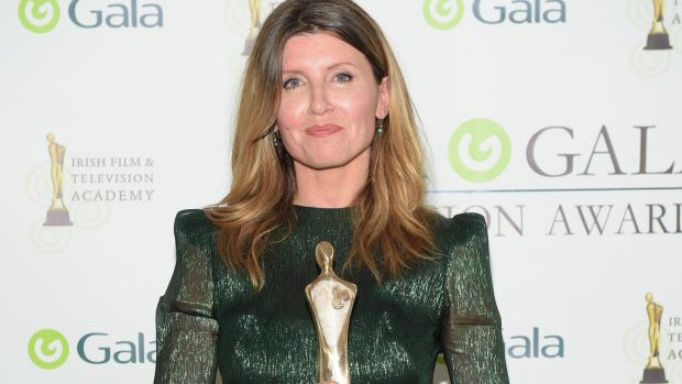 Sharon Horgan is pictured after winning the Female Performance award at the IFTA Gala Television Awards in the RDS. Photograph: Michael Chester