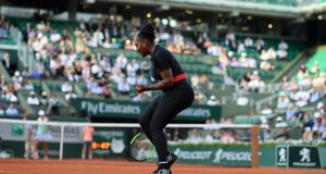 Serena Williams during her win over Australia's Ashleigh Barty in the second round of the French Open. Photograph: Getty Images