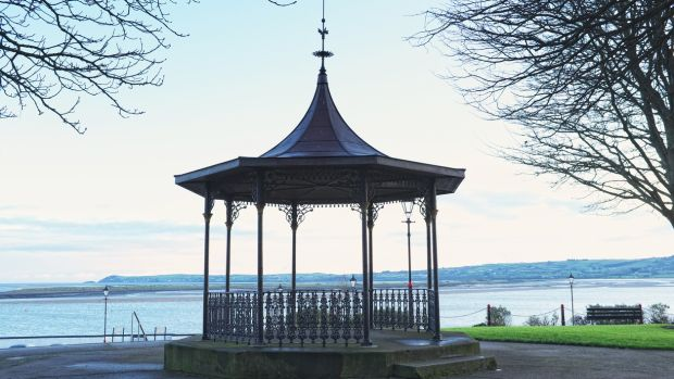 Victorian bandstand in Dungarvan town centre in winter