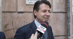 Italian prime minister Giuseppe Conte leaves his house in Rome, on Friday. The prospect of an autumn election in Italy has receded for now. Photograph: EPA/Massimo Percossi