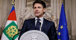 Giuseppe Conte addresses the media at the Quirinale presidential palace in Rome, Thursday night.  Photograph:  AP