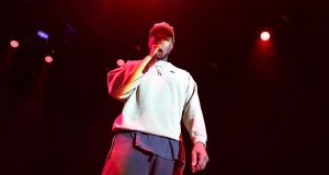 Kanye West onstage in Los Angeles, California. Photograph: Neilson Barnard/Getty Images