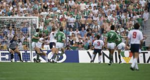 Euro 88: Ray Houghton (second right) heads Ireland's winner past Peter Shilton. Photograph: Bob Thomas/Getty Euro 88: Ray Houghton (second right) heads Ireland's winner past Peter Shilton. Photograph: Bob Thomas/Getty
