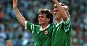 Euro 88: Ray Houghton and Kevin Moran celebrate after beating England. Photograph: Billy Stickland/Inpho Euro 88: Ray Houghton and Kevin Moran celebrate after beating England. Photograph: Billy Stickland/Inpho