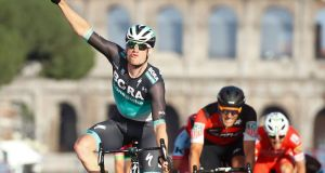 Ireland's Sam Bennett celebrates winning  the final  stage of the  Giro d'Italia in Rome on May 27th. Photograph: Luk Benies/AFP/Getty Images