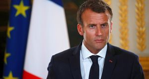 """This decision is not only illegal, it's an error on several counts,"" – French President Emmanuel Macron responds to decision by US administration to impose tariffs on EU steel and aluminium imports to US. Photograph: Philippe Wojazer / EPA"