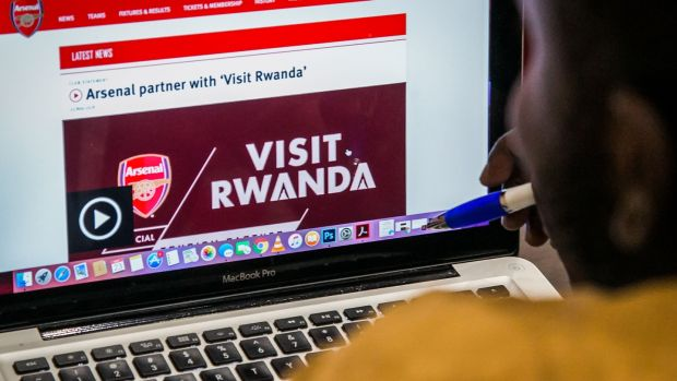 The Arsenal website which shows Rwanda's new tourism promotion logo. Photograph: Getty Images