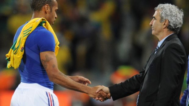Thierry Henry shakes hands with Raymond Domenech after France's 2-1 defeat to South Africa. Photograph: Franck Fife/AFP/Getty