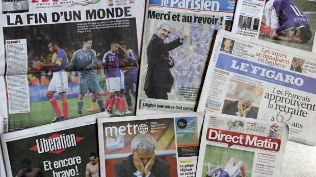 French newspapers on June 23rd 2010, the morning after France's World Cup exit. Photograph: Fred Dufour/AFP/Getty