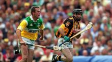 Current Offaly manager Kevin Martin in action against Kilkenny's DJ Carey during the 2000 All-Ireland final – Offaly's last appearance on hurling's biggest stage. Photograph: Ray McManus/Sportsfile