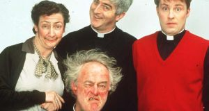 The original 'Father Ted' cast. The show's co-creator has confirmed a 'Father Ted' musical is on the way.