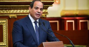 Egyptian president Abdel Fattah al-Sisi speaks after he was sworn in for a second presidential term, in Cairo. Photograph: Presidency of Egypt/EPA