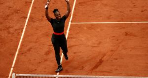 Serena Williams of the United States celebrates victory during the ladies singles third round match against Julia Georges of Germany at the 2018 French Open at Roland Garros. Photo: Cameron Spencer/Getty Images