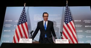 United States secretary of the treasury Steven Mnuchin arrives at a news conference after the G7 finance ministers' summit in Whistler, British Columbia, Canada. Photograph: REUTERS/BEN NELMS