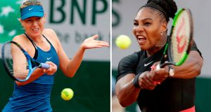 Maria Sharapova and Serena Williams face each other in the fourth round of the French Open. Photograph: Thomas Samson/AFP/Getty Images