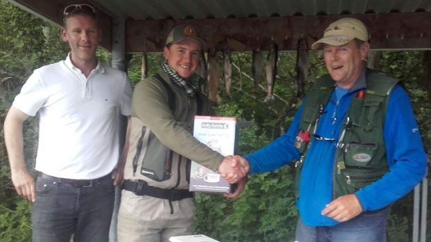 John Somerville, Cong Mayfly competition winner with John Fahy (right) of Cong Angling Centre and Stephen Lydon
