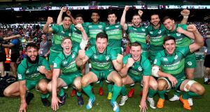 Ireland celebrate their third place finish in the London Sevens. Photograph: Andrew Fosker/Inpho