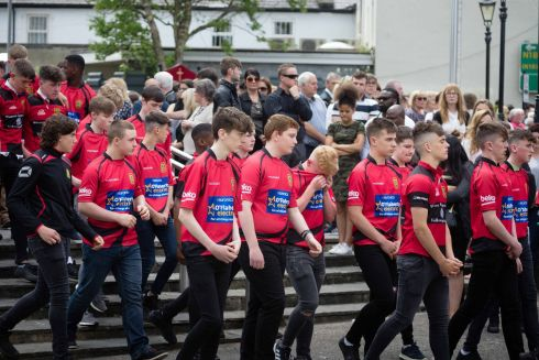 Ennis Rugby Club members who provided a guard of honour at the funeral of Jack Kenneally at Ennis Cathedral on Sunday morning.