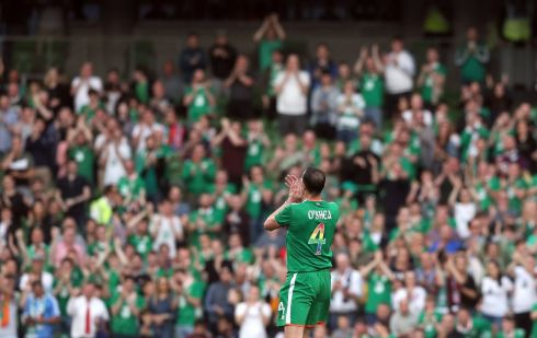 Republic of Ireland's John O'Shea applauds the fans as he is substituted during the International Friendly match at the Aviva Stadium, Dublin. Photograph: Brian Lawless/PA
