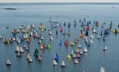 Boats at the start of the 10th edition of the Tour de Belle-Ile race in La Trinite-Sur-Mer, western France. Photograph: Fred Tanneau/AFP/Getty Images