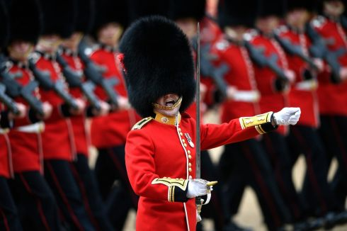 The Coldsteam Guards take part in the Colonel's Review at Horseguards Parade in London. Photograph: Neil Hall/EPA