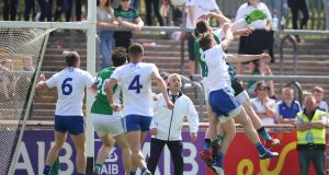 Eoin Donnelly rises high to flick home Fermanagh's winning goal against Monaghan in the Ulster SFC semi-final at Healy Park. Photograph: Tommy Dickson/Inpho