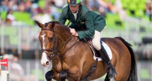Jonty Evans was injured in a fall at the international horse trials on Sunday. Photograph: Morgan Treacy/Inpho