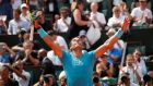 Spain's Rafael Nadal celebrates winnning his fourth round match against Germany's Maximilian Marterer at the French Open. Photo: Charles Platiau/Reuters