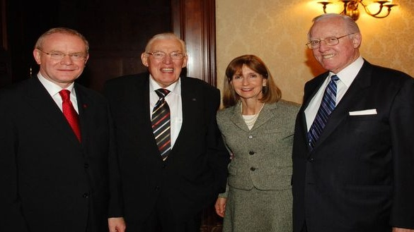 Bill Flynn with Martin McGuinness, Ian Paisley and Paula Dobriansky at an event in New York. Photograph: John Harrison/PA