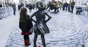"""Fearless Girl"", an award-winning 2017 advertisement for State Street, which was later accused of hypocrisy after its equal pay record emerged. Photograph: William Volcov/Getty Images"