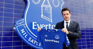 Everton manager Marco Silva poses after his first press conference at Goodison Park. Photo: Jason Cairnduff/Reuters