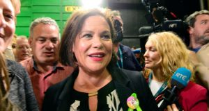 On a roll: Mary Lou McDonald at the RDS during the abortion referendum count. Photograph: Cyril Byrne