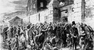 The Irish Famine: Scene at the Gate of the Workhouse, c.1846. Image: Getty Images