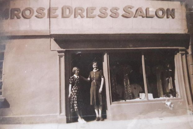 Trouble ahead: my grandmother and her friend in 1952, in the doorway of their new clothes shop, Primrose Dress Salon