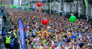 The starting line at last year's Dublin City marathon. Photograph: Cyril Byrne