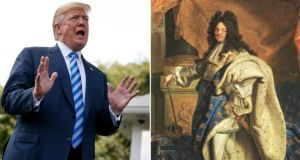 "US president Donald Trump, and the Sun King, Louis XIV of France: ""Trump and his team have sought to take advantage of the monarchial foundations upon which the office of the presidency was built to claim the kind of legal deference once demanded by Charles I and Louis XIV."" Images: New York Times/Getty"